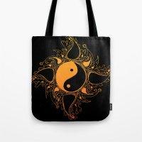 yin yang Tote Bags featuring Yin & Yang by #dancingpenguin