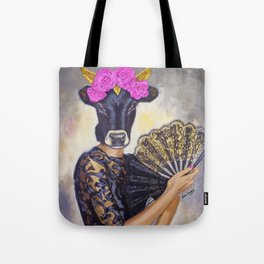 Flamenco-dancer with hand fan Tote Bag