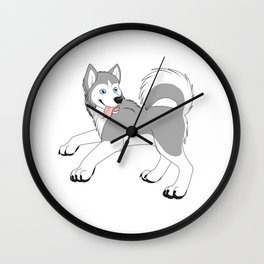 Husky (Silver and White) Wall Clock
