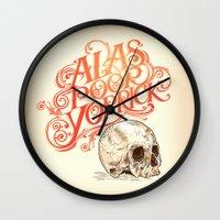 hamlet Wall Clocks featuring Hamlet Skull by Rachel Caldwell