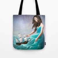 destiny Tote Bags featuring Destiny by Christian Schloe