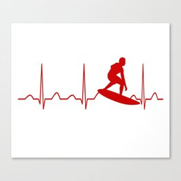 SURFING MAN HEARTBEAT Canvas Print