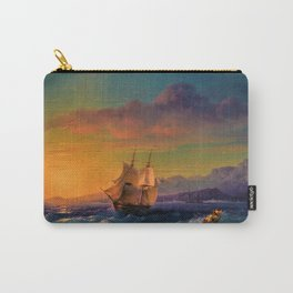 Ship at Sunset off of Cape Martin by Ivan Aivazovsky Carry-All Pouch