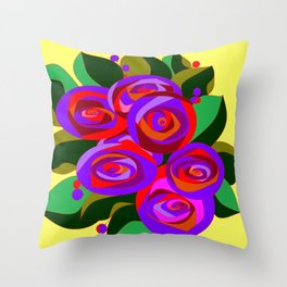 A Bouquet of Big Flowers with Yellow Background and Purple Tones Throw Pillow