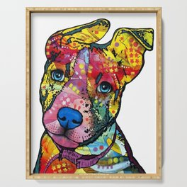Colourful Pit Bulls, pit bull gift Serving Tray