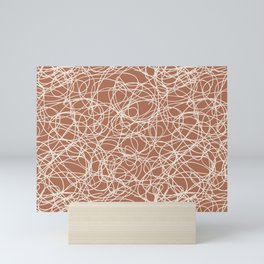 Creamy Off White SW7012 Thick Hand Drawn Scribble Mosaic Pattern on Cavern Clay SW 7701 Mini Art Print