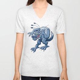 Werewolf Scratching Spooky Fleas Unisex V-Neck