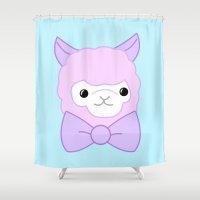 alpaca Shower Curtains featuring Pastel Alpaca  by Pastel Planet