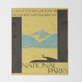 Vintage poster - National parks Throw Blanket