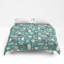 Vintage Kitchen Utensils / Teal Comforters