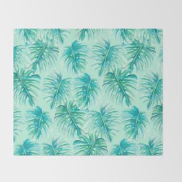 Paradise Palms Mint Throw Blanket
