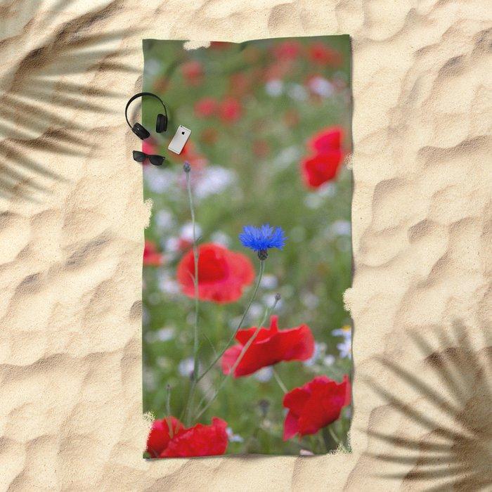 Spring Meadow Poppy Flowers full Bloom Beach Towel