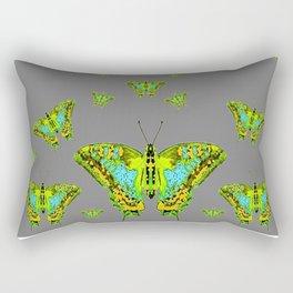 BLUE-GREEN-YELLOW PATTERNED MOTHS ON GREY Rectangular Pillow