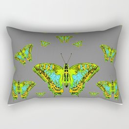 BLUE-GREEN-YELLOW PATTERNED MOTHS ON GREY Rectangular Pillow