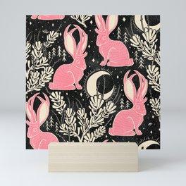 Jackalope - black and pink Mini Art Print