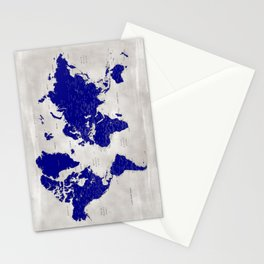 """Navy blue and grey detailed world map, """"Delaney"""" Stationery Cards"""