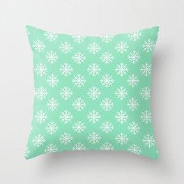 Snowflakes (White & Mint Pattern) Throw Pillow