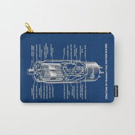 Radio tube vintage electronics on blue back ground diagram Carry-All Pouch