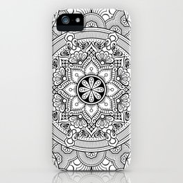 Black White Mandala Background Pattern iPhone Case