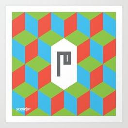 """Monogram Arabic Letter """"M"""" Art Print"""