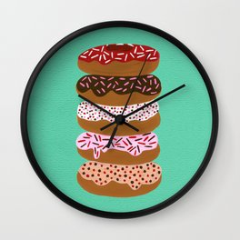 Stacked Donuts on Mint Wall Clock