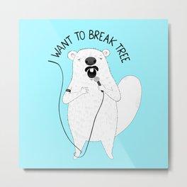 Beaver singing Queen | Animal Karaoke | Illustration | Blue Metal Print
