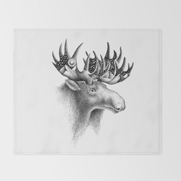 THE MOOSE AND THE MOON Throw Blanket