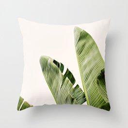 Peachy Banana Leaf Throw Pillow