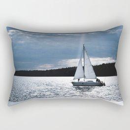 Blue moon light night sailing Rectangular Pillow