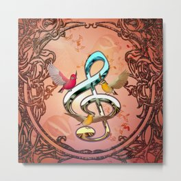 Decorative clef with songbirds Metal Print