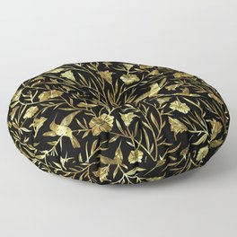 Black and gold foil humming birds & leafs pattern Floor Pillow