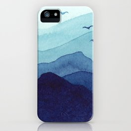Rolling mountains fade into the mist. Watercolor. iPhone Case