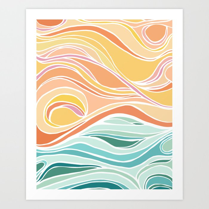 Abstract Tropical Pastel Sunset Art Print