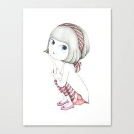 Girl rests on the chin Canvas Print
