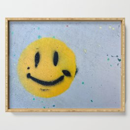 Smiley Face Spray Paint Serving Tray