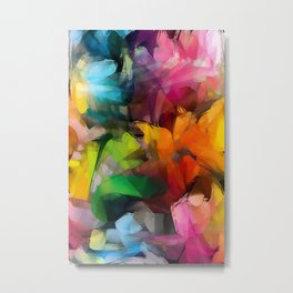 Dancing Rainbow Feathers Metal Print