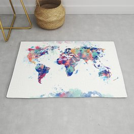 Coloful Splatter World Map Rug