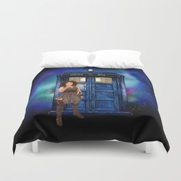Mrs River and the tardis Duvet Cover