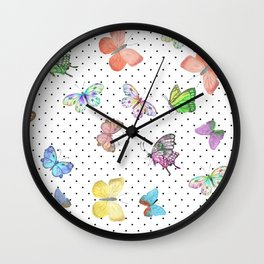 Colorful pink teal watercolor hand painted butterfly polka dots Wall Clock