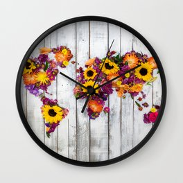 French Floral Bouquet on Rustic Upcycled Palette Wood World Map Art Wall Clock