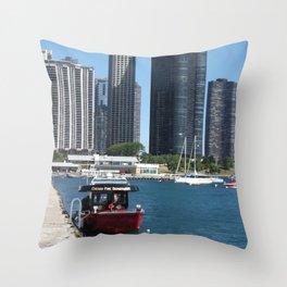 Chicago Fire Department, Chicago Shoreline, Skyline Throw Pillow