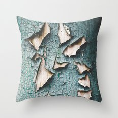 Rustic old light blue green peeling paint Throw Pillow