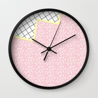 memphis Wall Clocks featuring MEMPHIS PINK by Rocío Olmo