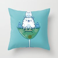 martini Throw Pillows featuring Martini PBear by OLLA BOKU