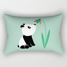 Sweet panda and flower Rectangular Pillow