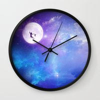 peter pan Wall Clocks featuring Peter Pan by Nikita Gill