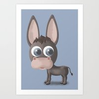 donkey Art Prints featuring DONKEY by Ainaragm