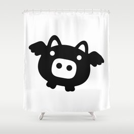 Pigs Will Fly (b&w) Shower Curtain