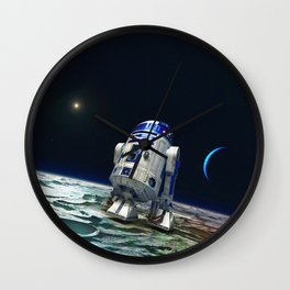 R2 In The Moon Wall Clock