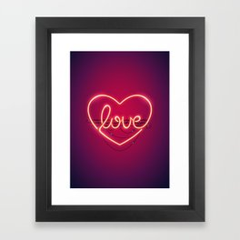 Love Heart Neon Sign Framed Art Print